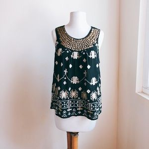 Lucky Brand Embellished Ethnic Tank Top